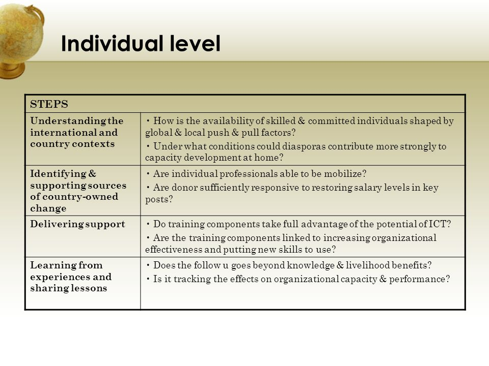 Individual level STEPS Understanding the international and country contexts How is the availability of skilled & committed individuals shaped by globa