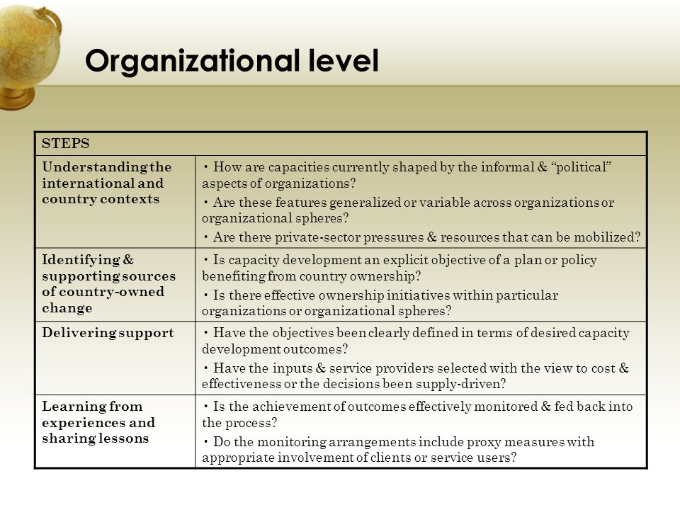Organizational level STEPS Understanding the international and country contexts How are capacities currently shaped by the informal & political aspect