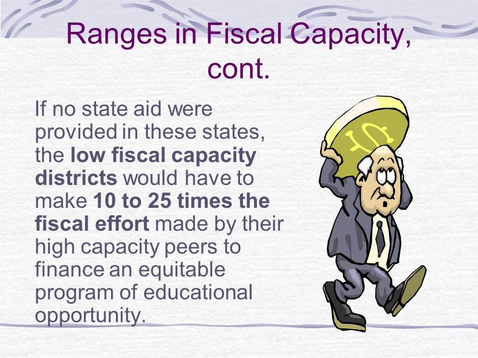 Ranges in Fiscal Capacity, cont.