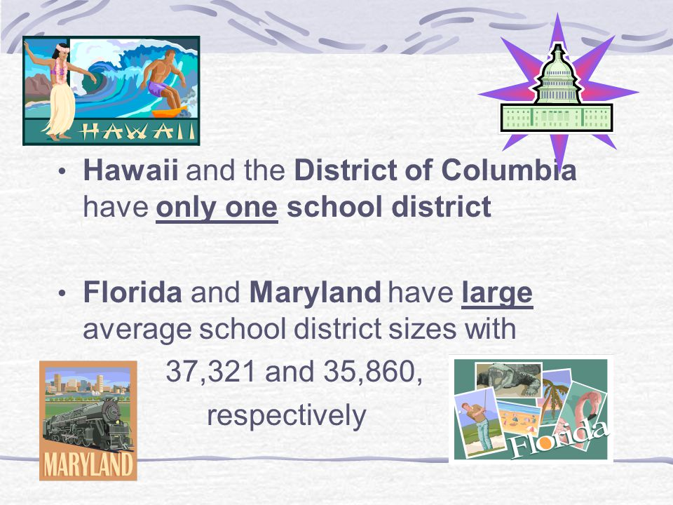Hawaii and the District of Columbia have only one school district Florida and Maryland have large average school district sizes with 37,321 and 35,860, respectively