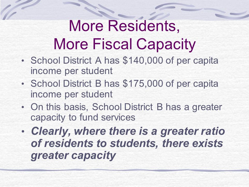 More Residents, More Fiscal Capacity School District A has $140,000 of per capita income per student School District B has $175,000 of per capita income per student On this basis, School District B has a greater capacity to fund services Clearly, where there is a greater ratio of residents to students, there exists greater capacity