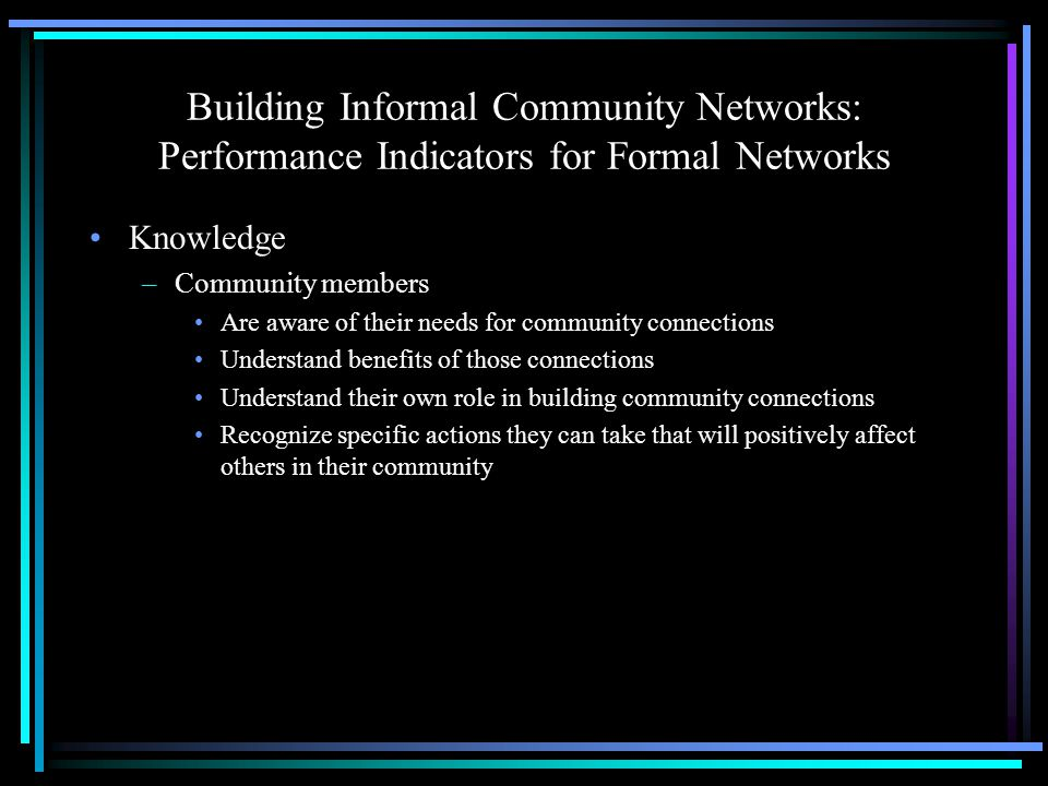 Building Informal Community Networks: Performance Indicators for Formal Networks Knowledge –Community members Are aware of their needs for community connections Understand benefits of those connections Understand their own role in building community connections Recognize specific actions they can take that will positively affect others in their community