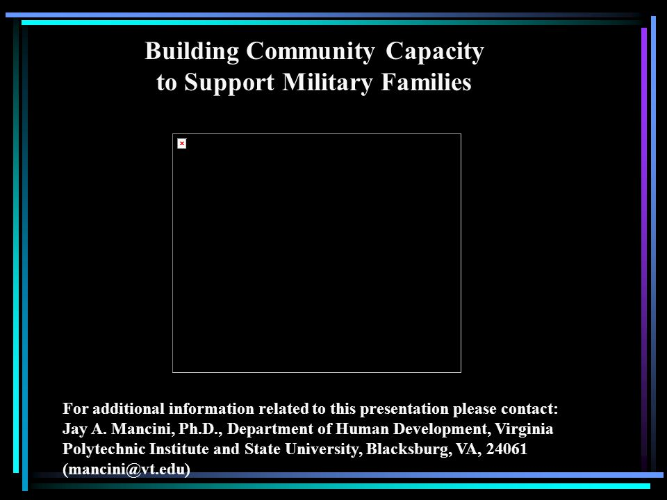 Building Community Capacity to Support Military Families For additional information related to this presentation please contact: Jay A.