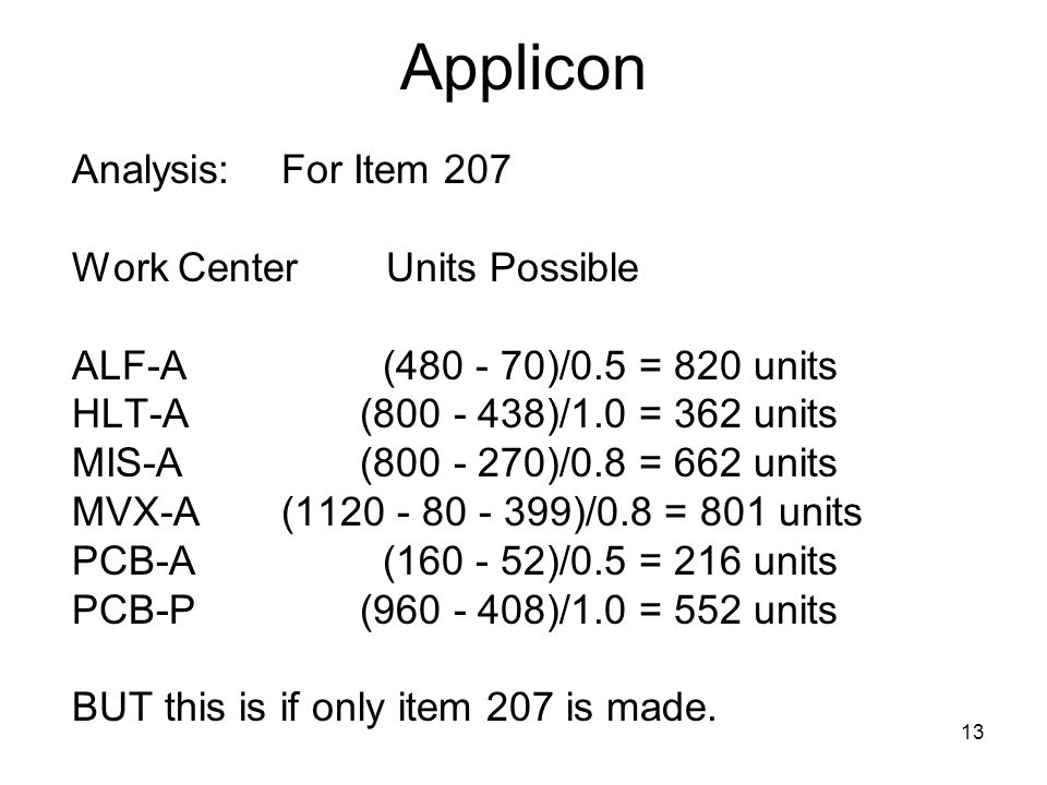 13 Applicon Analysis:For Item 207 Work CenterUnits Possible ALF-A ( )/0.5 = 820 units HLT-A ( )/1.0 = 362 units MIS-A ( )/0.8 = 662 units MVX-A( )/0.8 = 801 units PCB-A ( )/0.5 = 216 units PCB-P ( )/1.0 = 552 units BUT this is if only item 207 is made.