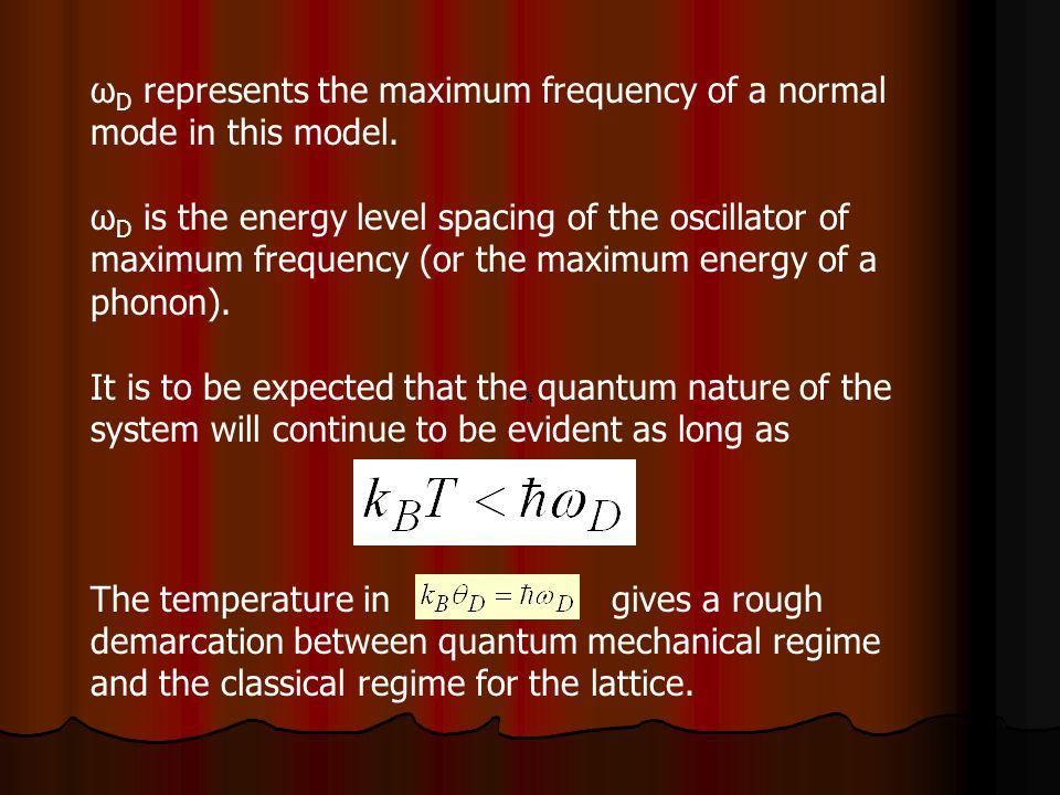 ω D represents the maximum frequency of a normal mode in this model. ω D is the energy level spacing of the oscillator of maximum frequency (or the ma
