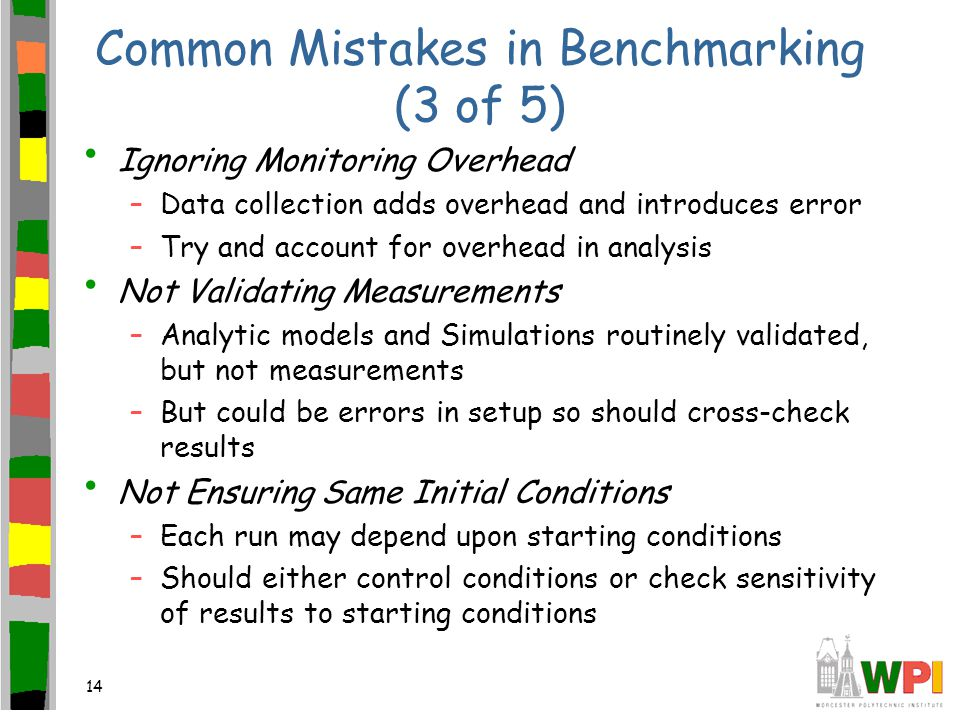 14 Common Mistakes in Benchmarking (3 of 5) Ignoring Monitoring Overhead –Data collection adds overhead and introduces error –Try and account for overhead in analysis Not Validating Measurements –Analytic models and Simulations routinely validated, but not measurements –But could be errors in setup so should cross-check results Not Ensuring Same Initial Conditions –Each run may depend upon starting conditions –Should either control conditions or check sensitivity of results to starting conditions