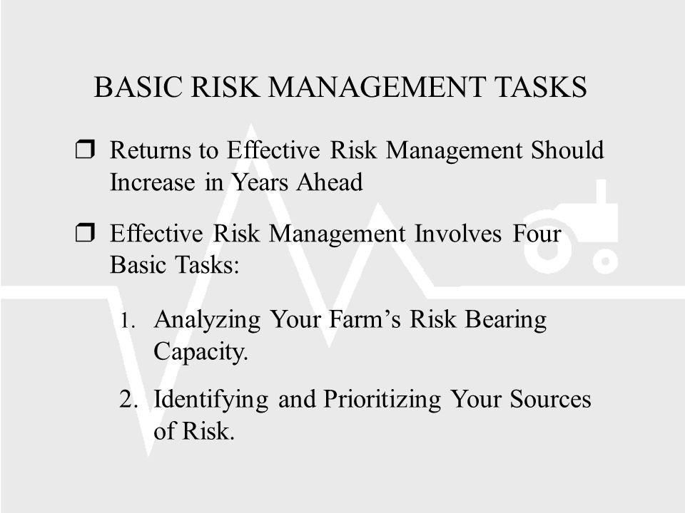 BASIC RISK MANAGEMENT TASKS rReturns to Effective Risk Management Should Increase in Years Ahead rEffective Risk Management Involves Four Basic Tasks: 1.