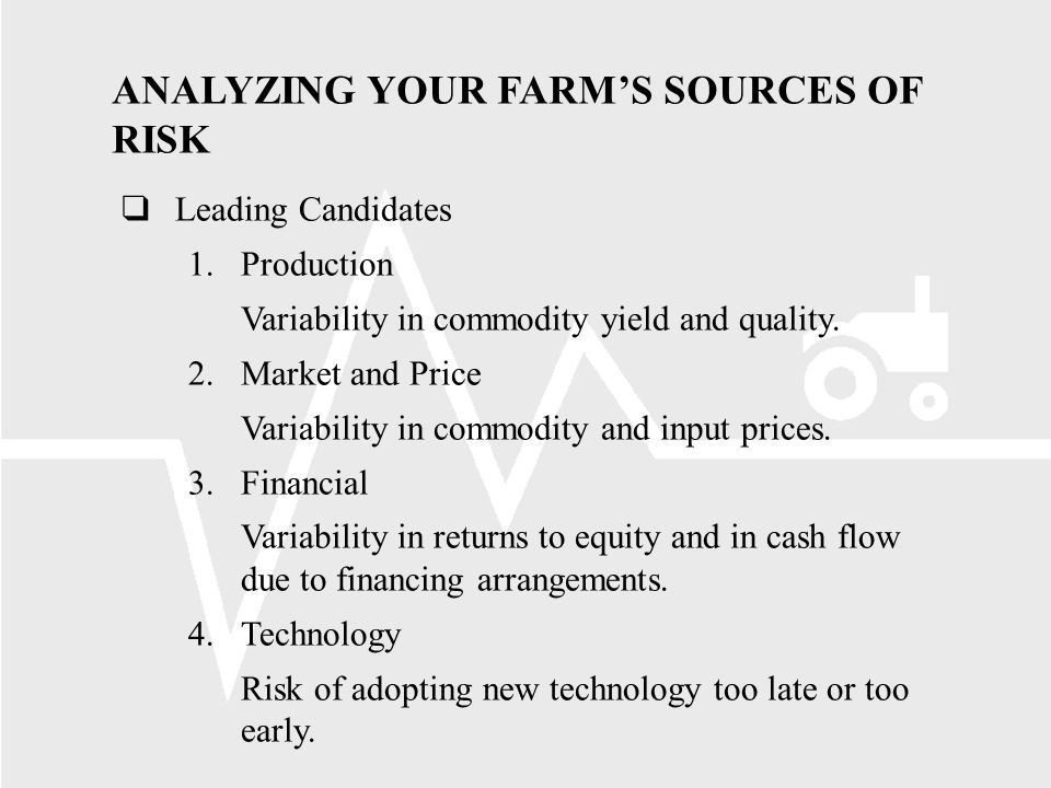 ANALYZING YOUR FARMS SOURCES OF RISK Leading Candidates 1.Production Variability in commodity yield and quality.
