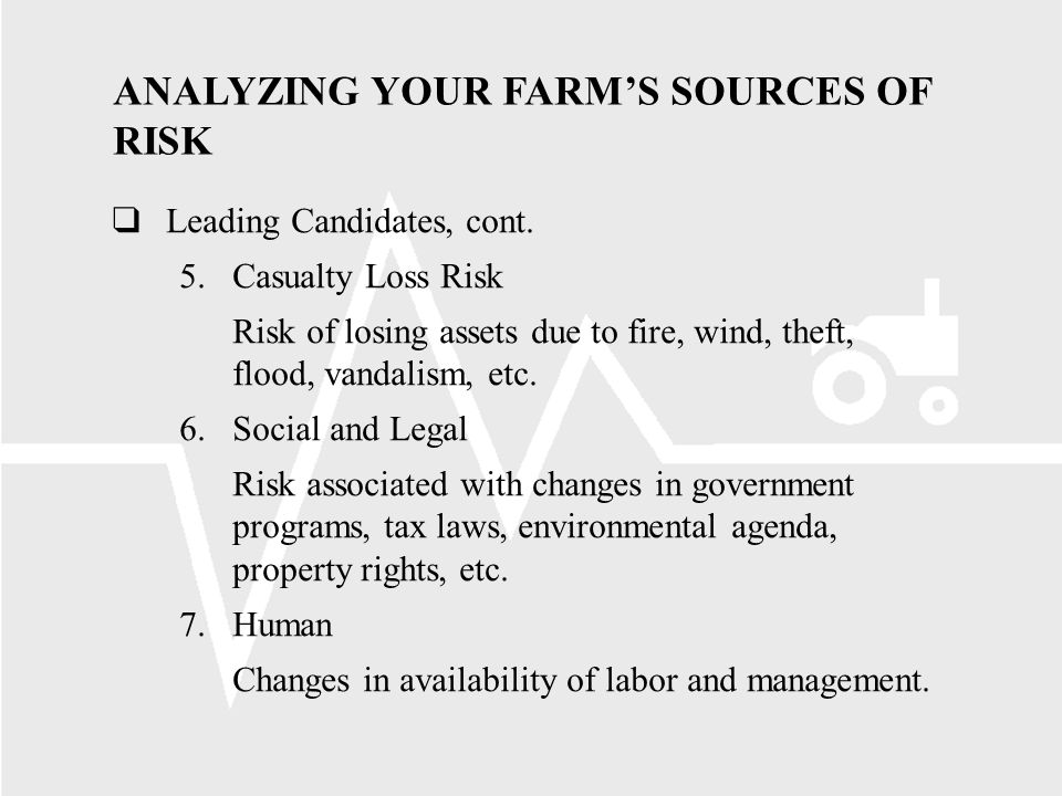 ANALYZING YOUR FARMS SOURCES OF RISK Leading Candidates, cont.