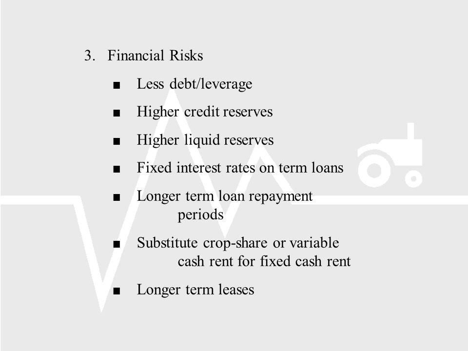 3. Financial Risks n Less debt/leverage n Higher credit reserves n Higher liquid reserves n Fixed interest rates on term loans n Longer term loan repa