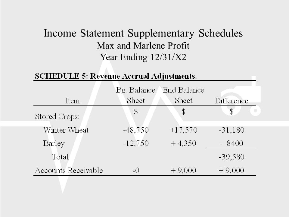 Income Statement Supplementary Schedules Max and Marlene Profit Year Ending 12/31/X2