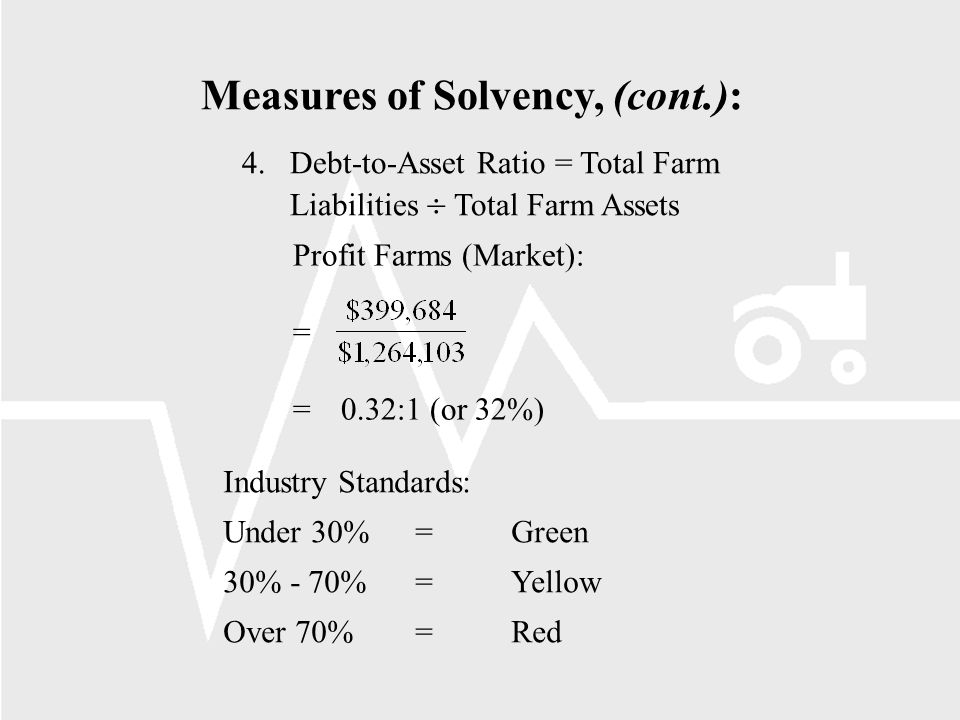 Measures of Solvency, (cont.): 4.Debt-to-Asset Ratio = Total Farm Liabilities Total Farm Assets Profit Farms (Market): = =0.32:1 (or 32%) Industry Standards: Under 30%=Green 30% - 70%=Yellow Over 70%=Red