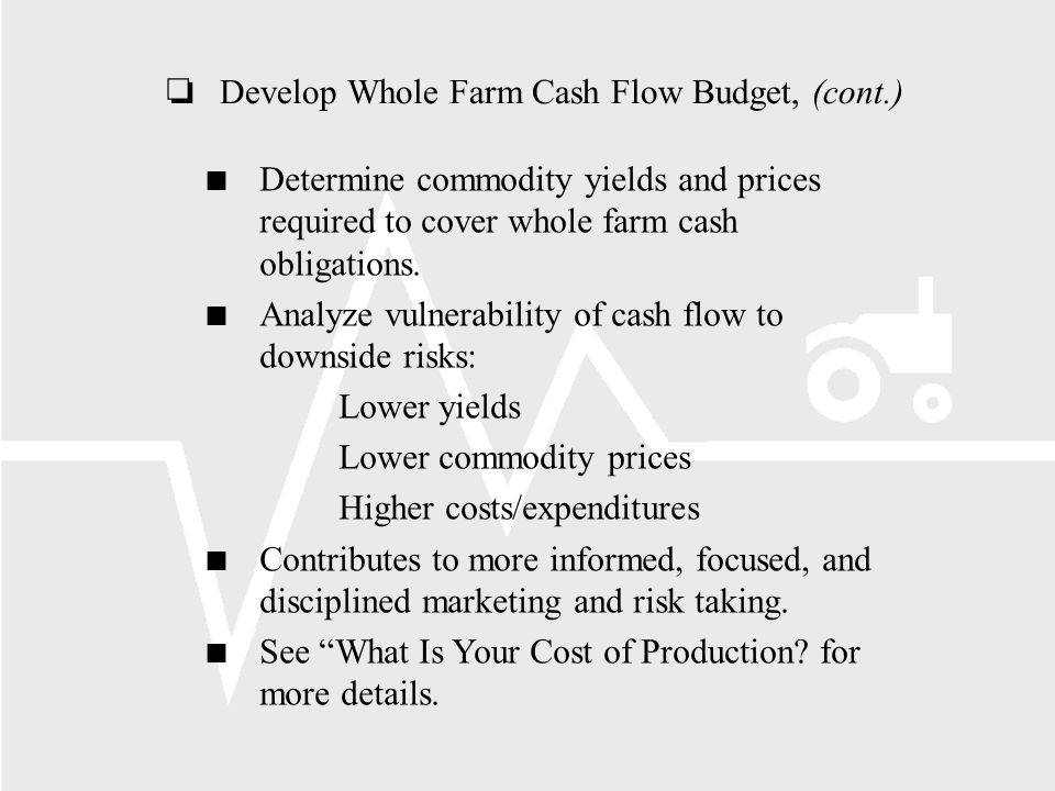 oDevelop Whole Farm Cash Flow Budget, (cont.) Determine commodity yields and prices required to cover whole farm cash obligations.