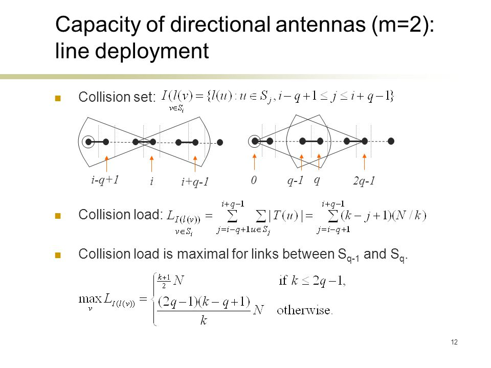 12 Collision set: Collision load: Collision load is maximal for links between S q-1 and S q.