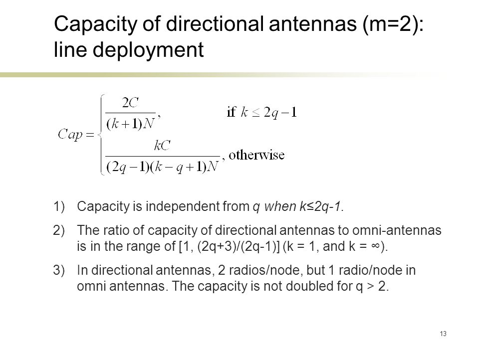 13 Capacity of directional antennas (m=2): line deployment 1)Capacity is independent from q when k2q-1. 2)The ratio of capacity of directional antenna