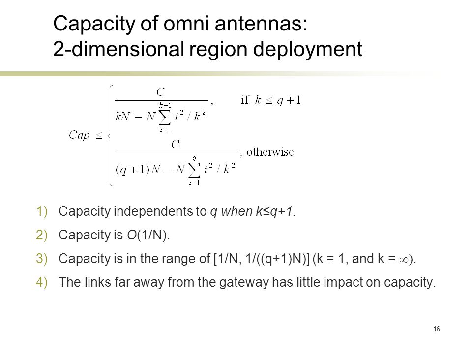 16 Capacity of omni antennas: 2-dimensional region deployment 1)Capacity independents to q when kq+1. 2)Capacity is O(1/N). 3)Capacity is in the range