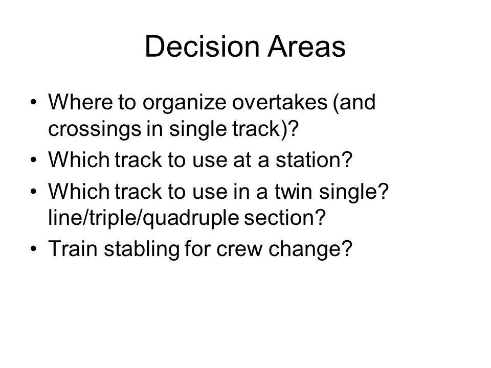 Decision Areas Where to organize overtakes (and crossings in single track).