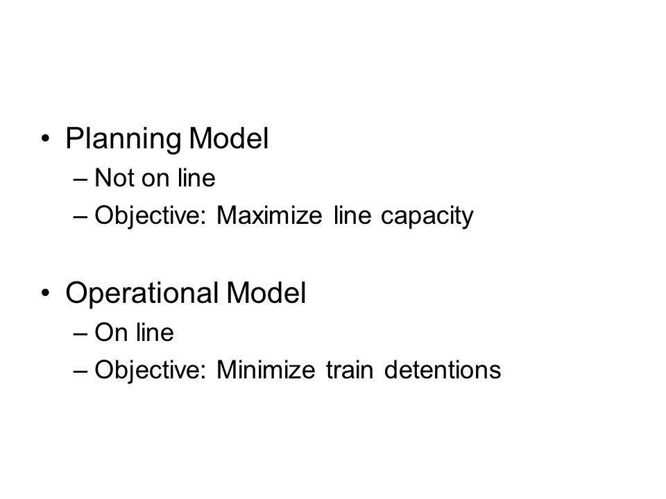 Planning Model –Not on line –Objective: Maximize line capacity Operational Model –On line –Objective: Minimize train detentions