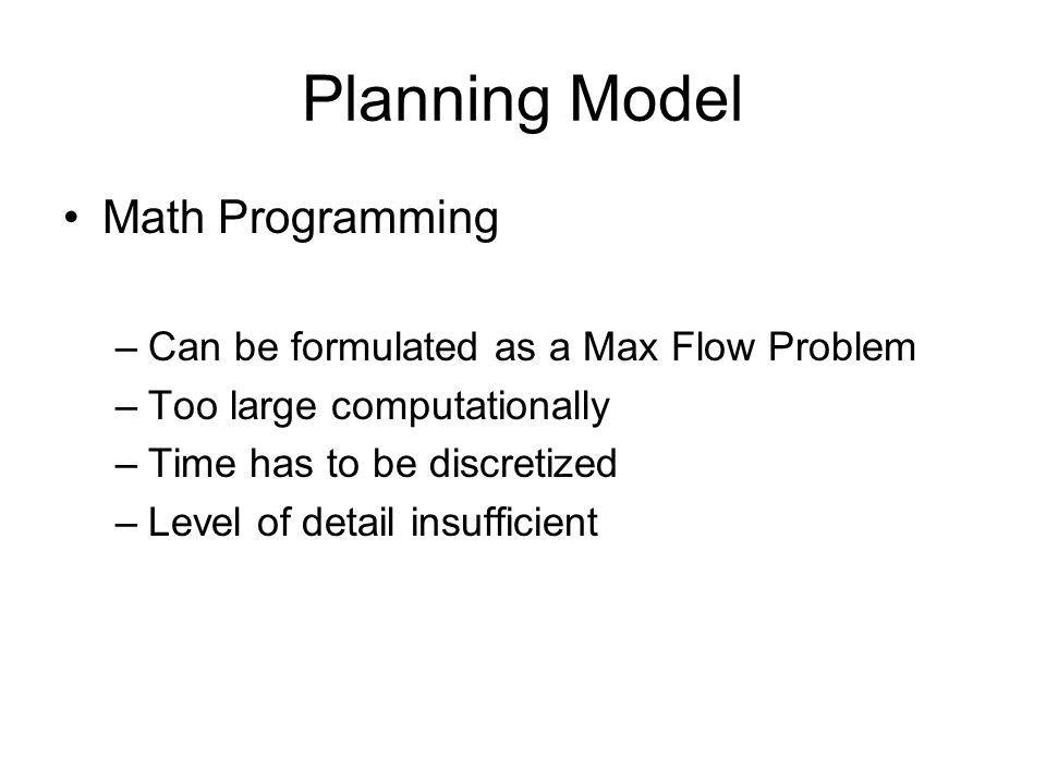 Planning Model Math Programming –Can be formulated as a Max Flow Problem –Too large computationally –Time has to be discretized –Level of detail insufficient
