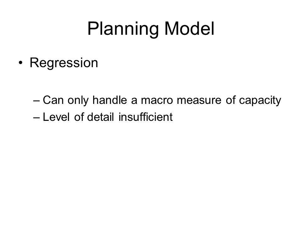 Planning Model Regression –Can only handle a macro measure of capacity –Level of detail insufficient