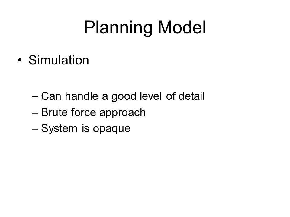 Planning Model Simulation –Can handle a good level of detail –Brute force approach –System is opaque