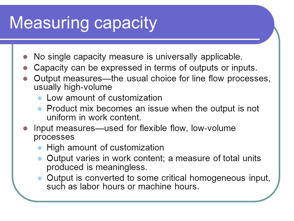 Capacity Planning Capacity can be defined as the ability to hold, receive, store, or accommodate. Strategic capacity planning is an approach for deter