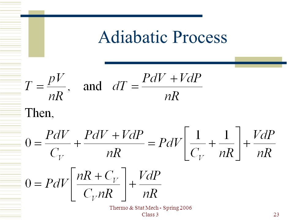 Thermo & Stat Mech - Spring 2006 Class 323 Adiabatic Process