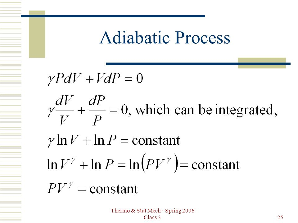 Thermo & Stat Mech - Spring 2006 Class 325 Adiabatic Process