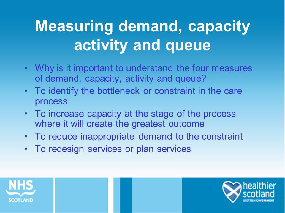 Measuring demand, capacity activity and queue Why is it important to understand the four measures of demand, capacity, activity and queue.