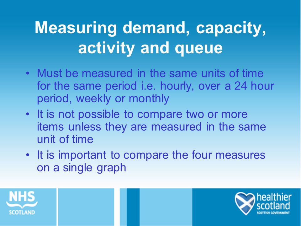 Measuring demand, capacity, activity and queue Must be measured in the same units of time for the same period i.e.