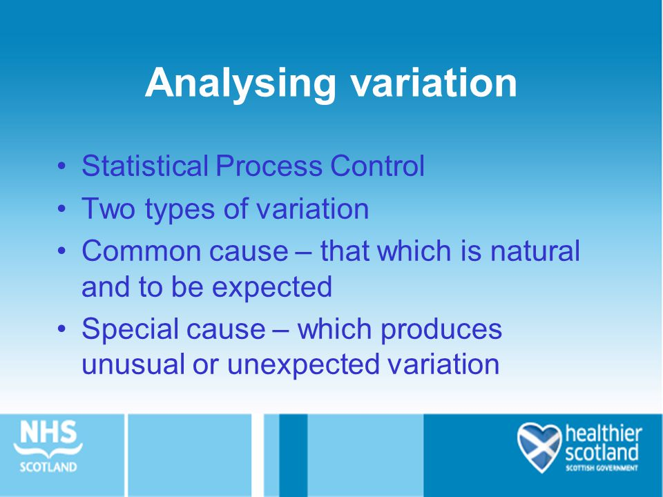 Analysing variation Statistical Process Control Two types of variation Common cause – that which is natural and to be expected Special cause – which p