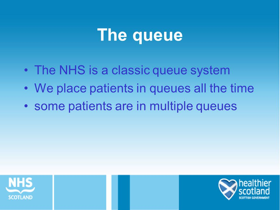 The queue The NHS is a classic queue system We place patients in queues all the time some patients are in multiple queues