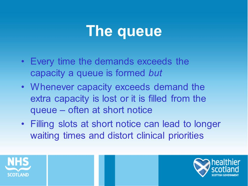 The queue Every time the demands exceeds the capacity a queue is formed but Whenever capacity exceeds demand the extra capacity is lost or it is filled from the queue – often at short notice Filling slots at short notice can lead to longer waiting times and distort clinical priorities