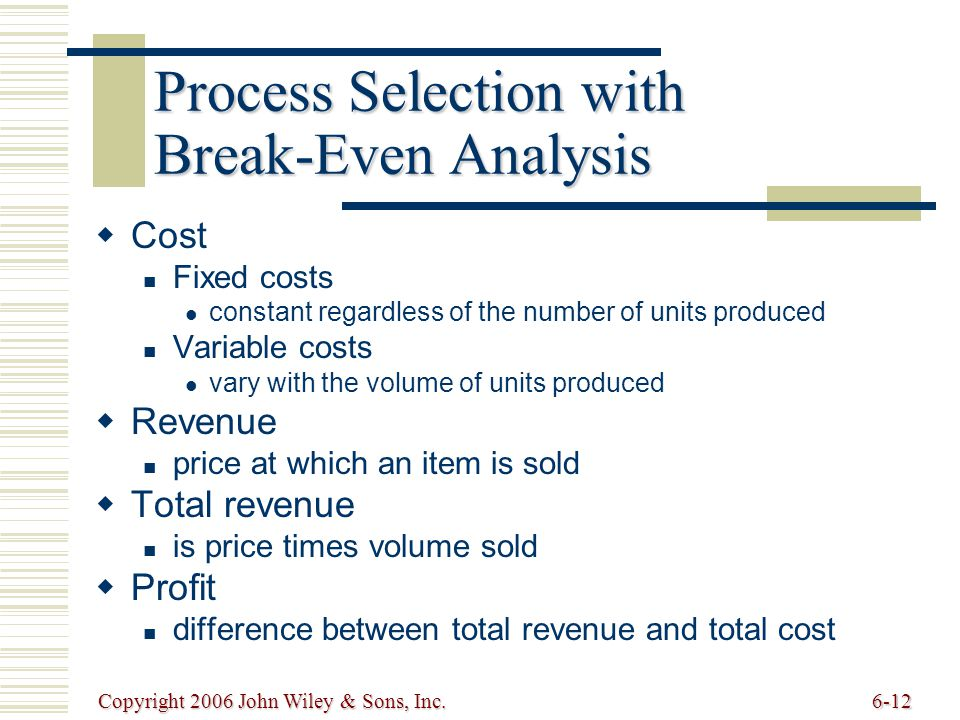 Copyright 2006 John Wiley & Sons, Inc.6-12 Cost Fixed costs constant regardless of the number of units produced Variable costs vary with the volume of units produced Revenue price at which an item is sold Total revenue is price times volume sold Profit difference between total revenue and total cost Process Selection with Break-Even Analysis