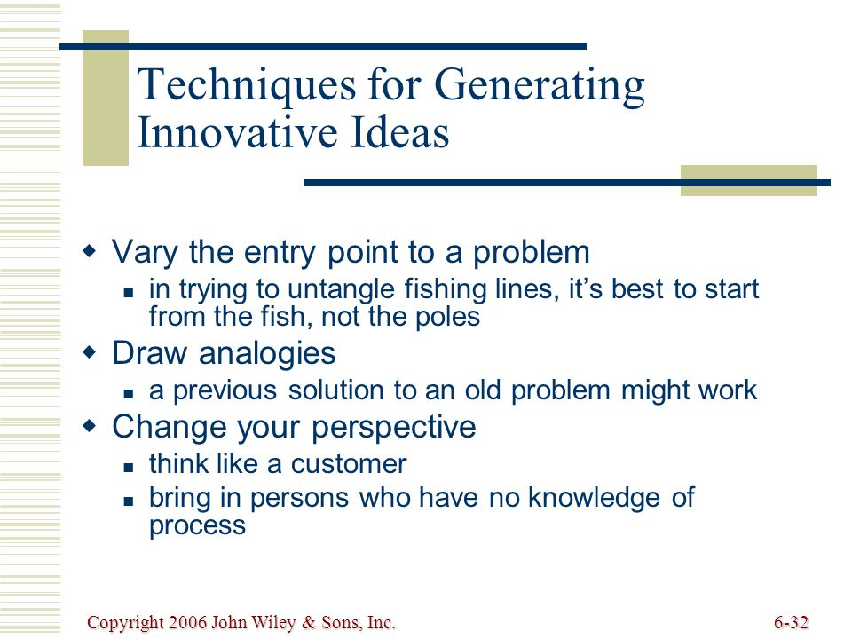 Copyright 2006 John Wiley & Sons, Inc.6-32 Techniques for Generating Innovative Ideas Vary the entry point to a problem in trying to untangle fishing lines, its best to start from the fish, not the poles Draw analogies a previous solution to an old problem might work Change your perspective think like a customer bring in persons who have no knowledge of process