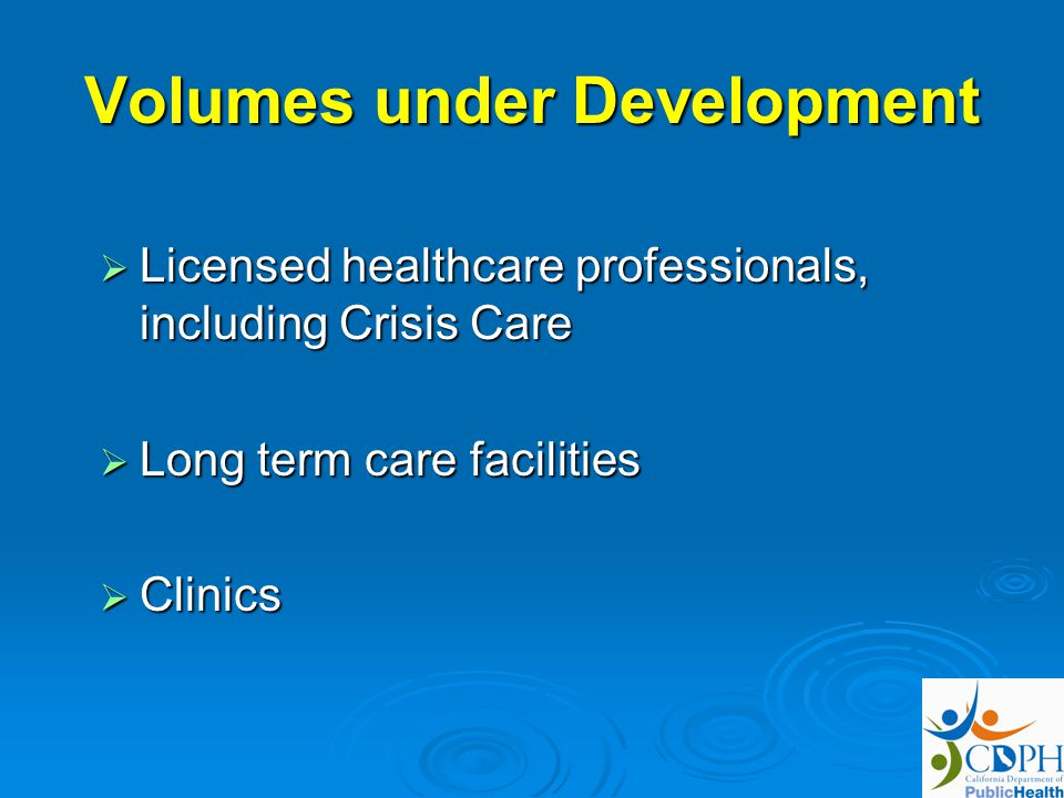 Volumes under Development Licensed healthcare professionals, including Crisis Care Licensed healthcare professionals, including Crisis Care Long term care facilities Long term care facilities Clinics Clinics