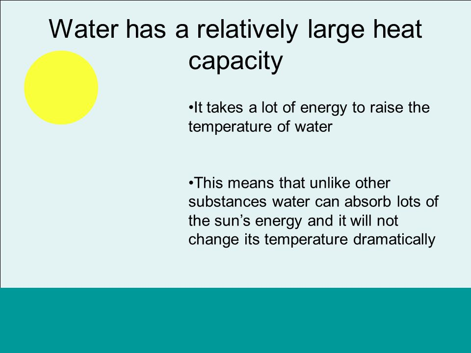 Waters high heat capacity also means that it looses energy relatively slow So as the sun goes down and night falls the water will still remain a relatively constant temperature