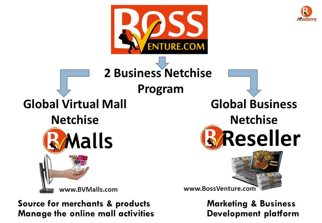 2 Business Netchise Program Global Virtual Mall Netchise Global Business Netchise www.BVMalls.com www.BossVenture.com Source for merchants & products Manage the online mall activities Marketing & Business Development platform