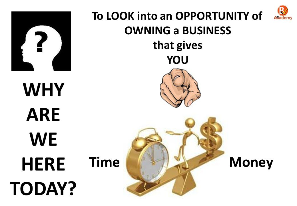TimeMoney To LOOK into an OPPORTUNITY of OWNING a BUSINESS that gives YOU WHY ARE WE HERE TODAY?