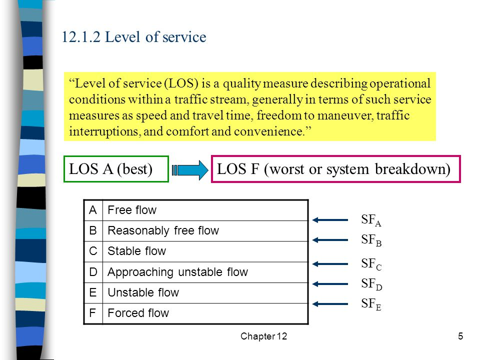 Chapter 1216 12.3.1 Types of analysis Operational analysis (Determine speed and flow rate, then density and LOS) Service flow rate and service volume analysis (for desired LOS) MSF = Max service flow rate Design analysis (Find the number of lanes needed to serve desired MSF)