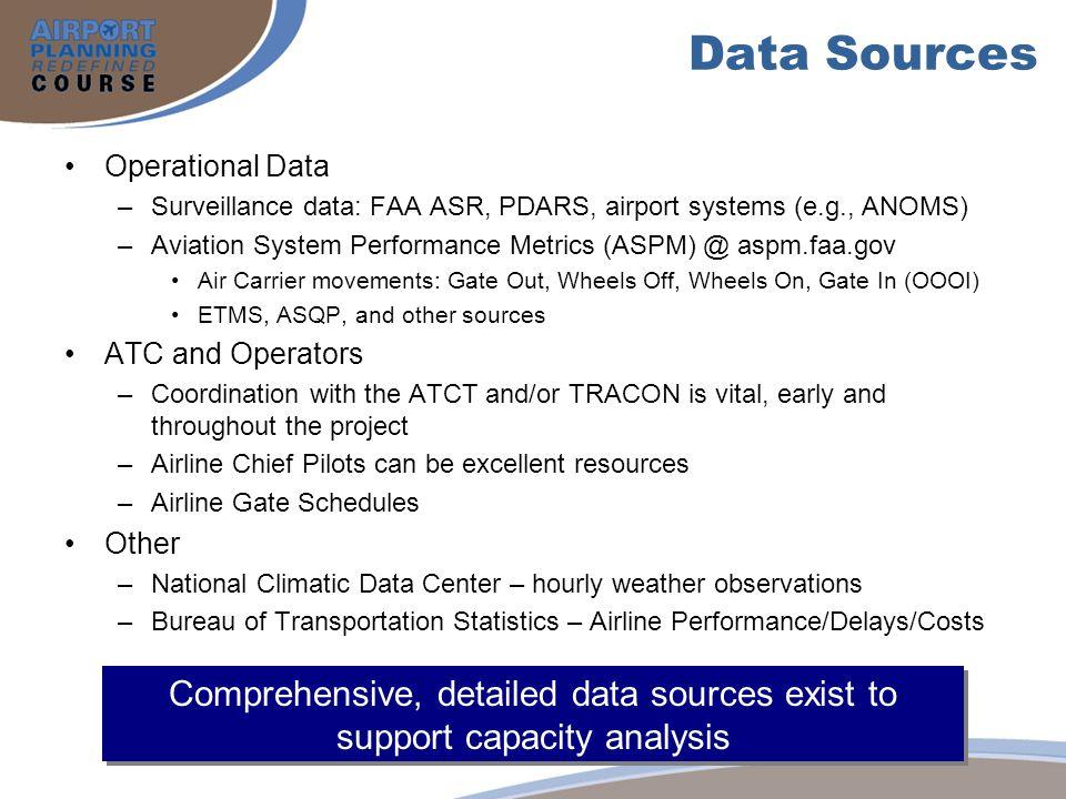 Data Sources Operational Data –Surveillance data: FAA ASR, PDARS, airport systems (e.g., ANOMS) –Aviation System Performance Metrics (ASPM) @ aspm.faa