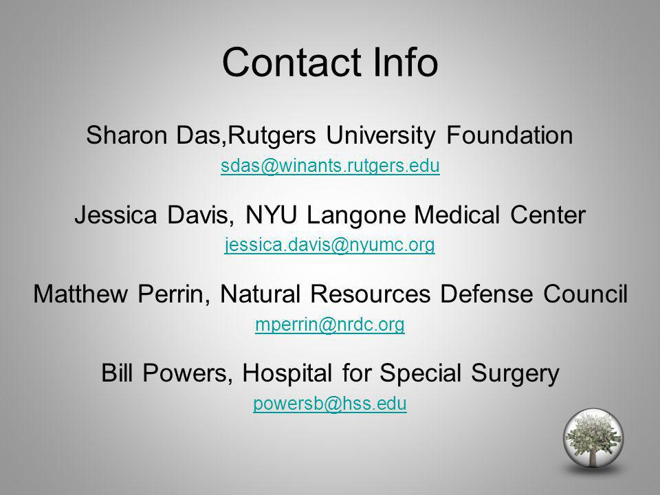 Contact Info Sharon Das,Rutgers University Foundation sdas@winants.rutgers.edu Jessica Davis, NYU Langone Medical Center jessica.davis@nyumc.org Matthew Perrin, Natural Resources Defense Council mperrin@nrdc.org Bill Powers, Hospital for Special Surgery powersb@hss.edu
