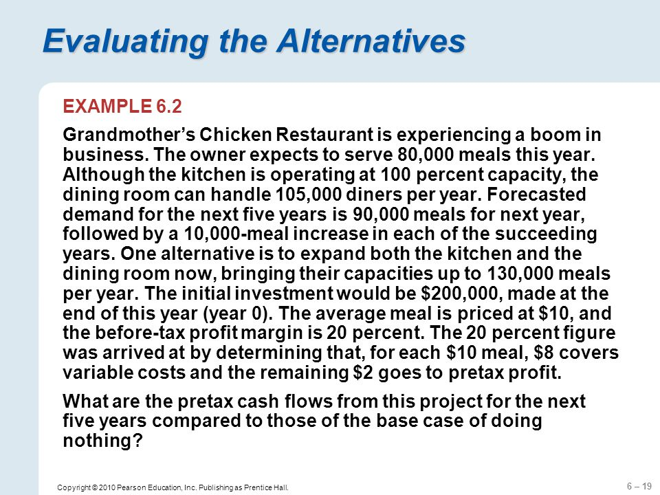 6 – 19 Copyright © 2010 Pearson Education, Inc. Publishing as Prentice Hall. Evaluating the Alternatives EXAMPLE 6.2 Grandmothers Chicken Restaurant i