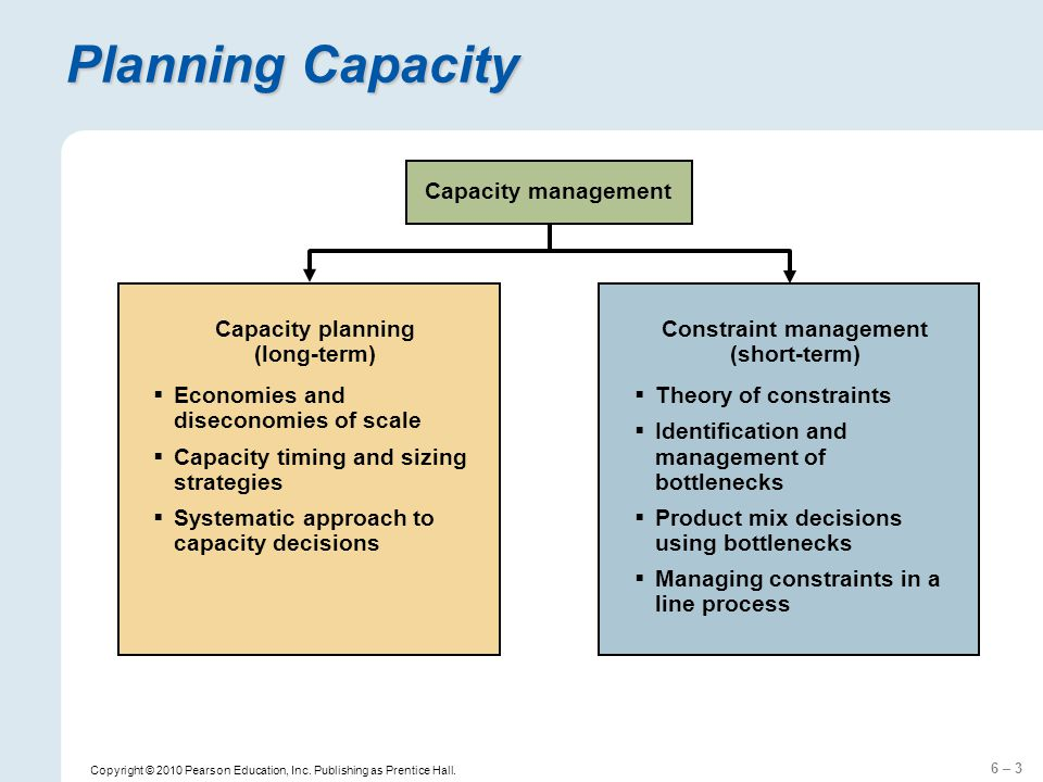 6 – 3 Copyright © 2010 Pearson Education, Inc. Publishing as Prentice Hall. Planning Capacity Capacity planning (long-term) Economies and diseconomies