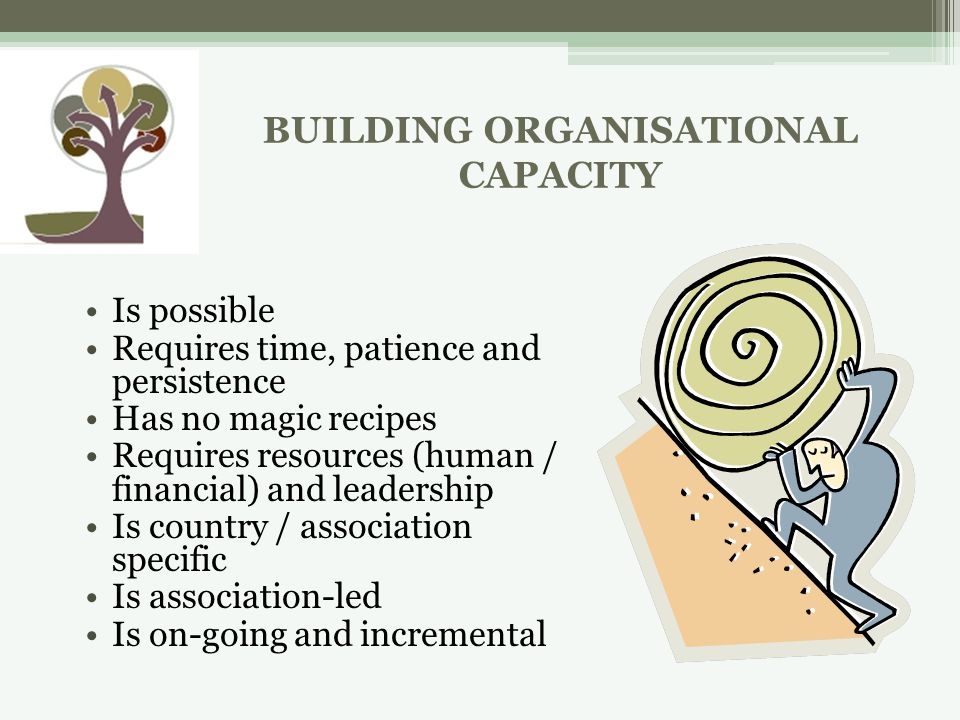 BUILDING ORGANISATIONAL CAPACITY Is possible Requires time, patience and persistence Has no magic recipes Requires resources (human / financial) and leadership Is country / association specific Is association-led Is on-going and incremental