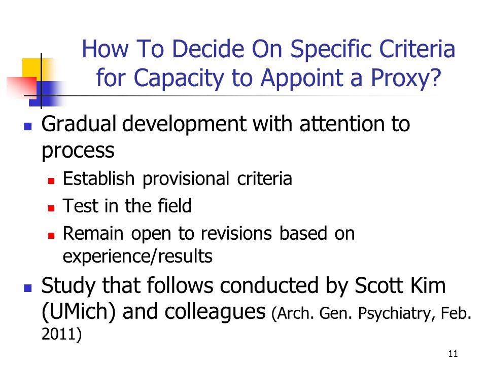 How To Decide On Specific Criteria for Capacity to Appoint a Proxy? Gradual development with attention to process Establish provisional criteria Test