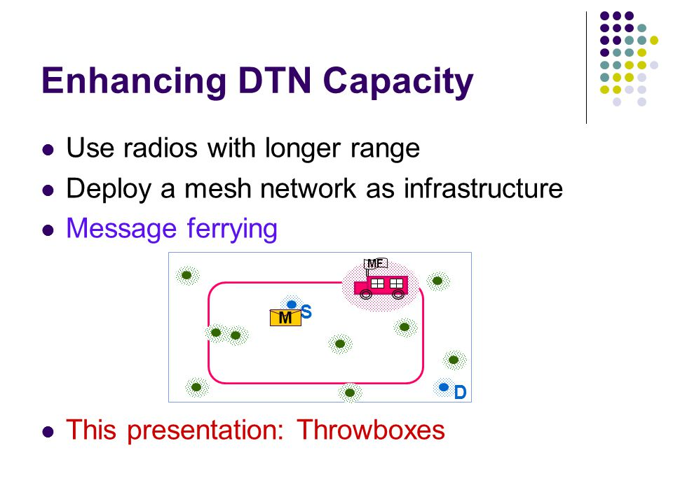 Use radios with longer range Deploy a mesh network as infrastructure Message ferrying This presentation: Throwboxes Enhancing DTN Capacity MF S M D