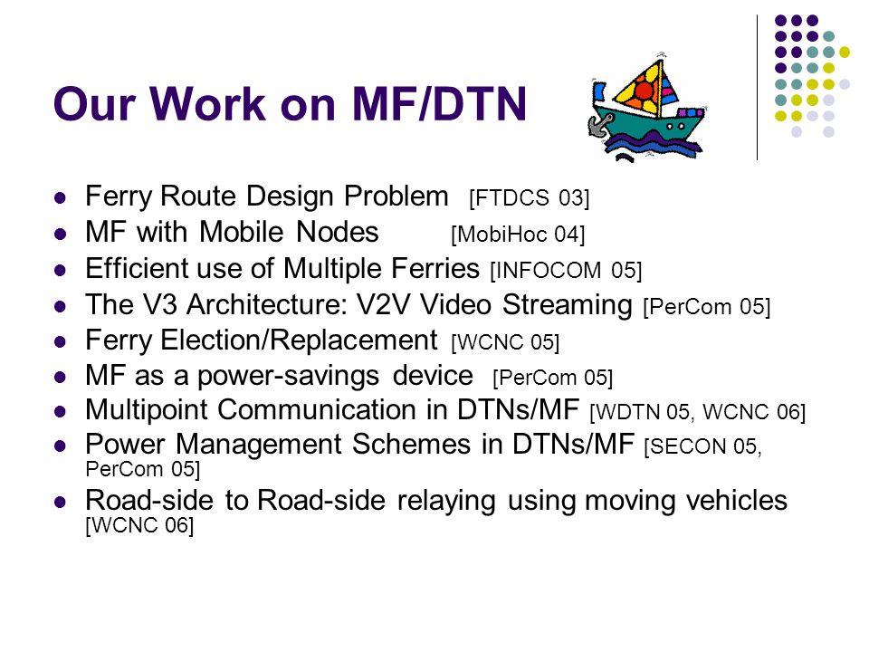 Throwbox Deployment & Routing Framework Contact oblivious Contact based Traffic & Contact based Multi-path routing Single path routing Epidemic routing Deployment approach Routing approach Random or Regular Deployment
