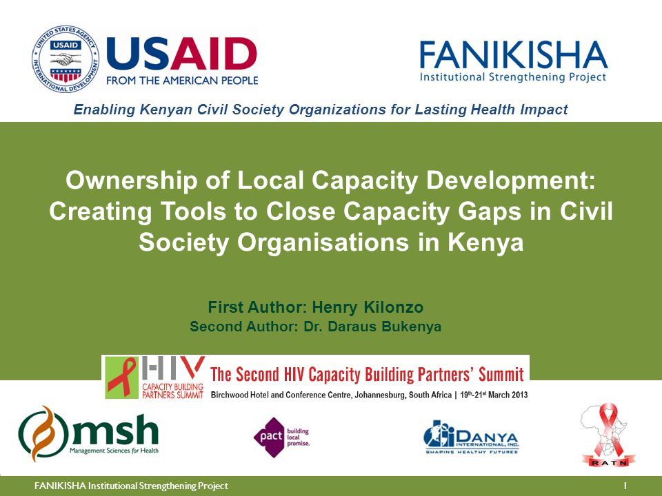 1FANIKISHA Institutional Strengthening Project First Author: Henry Kilonzo Second Author: Dr.