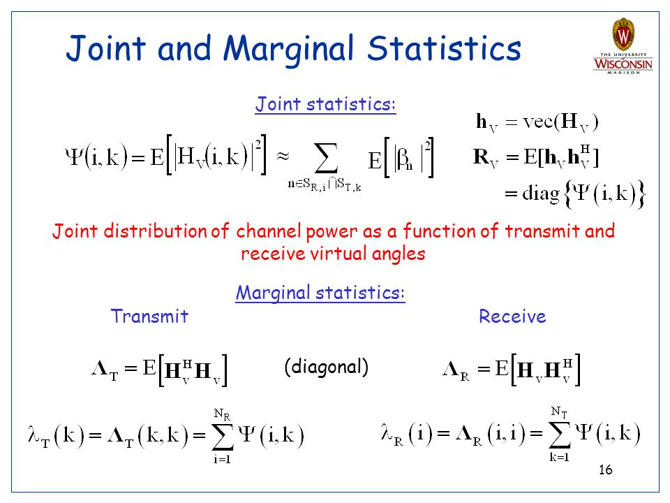 16 Joint and Marginal Statistics Joint distribution of channel power as a function of transmit and receive virtual angles Joint statistics: Marginal s